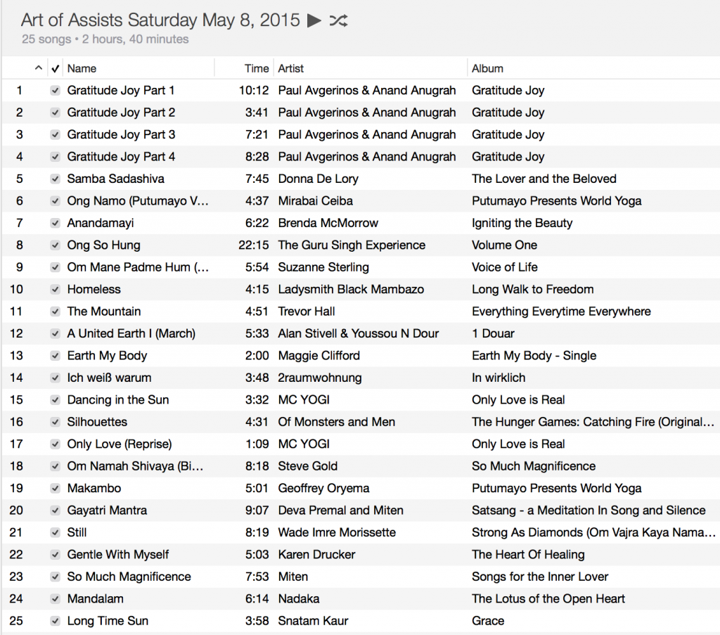 May 2015 Playlist Art of Assisting Weekend 1