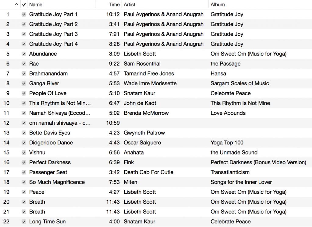 Yoga Playlist July 2015